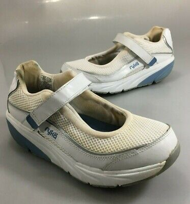 Womens Relief (Ryka Womens 8.5 Relief Mary Jane Low White Toning Walking Shoes )