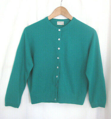 Vintage BALLANTYNE Green Cashmere Cardigan 38 In Chest Sz 40 M? EXC
