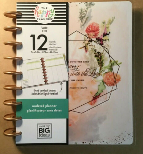 """NEW! me & my BIG Ideas The Happy Planner """"FAITH"""" Undated CLASSIC Planner 12 Mos."""