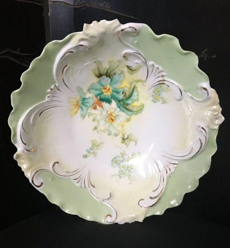 Antique Unmarked Floral Porcelain Bowl