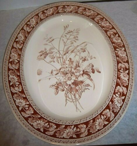 "COPELAND Transferware 17"" SERVING PLATTER 19th century BROWN Daisy Chain"