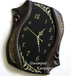 Contemporary Design Wall Clock New Home Decor Black Glass Dark wood gold Silent