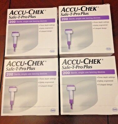 Accu-Chek Safe-T-Pro Plus Single Use Lancets 4 Boxes of 200 NEW Exp 2021