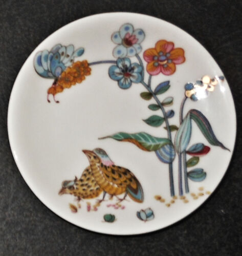 """French Haviland Quail and Flowers 3"""" Butter Pat, Porcelain"""
