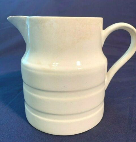 "Vintage English White Ironstone Pitcher Farmhouse 6"" Tall"