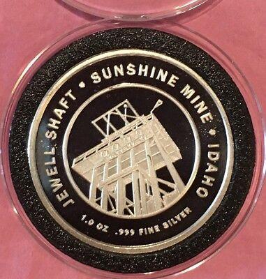 Jewel Shaft Sunshine Mine Sterling Mining 1 Troy Oz  999 Fine Silver Round Coin