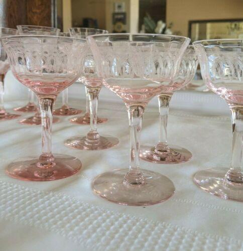 Vintage Pink Crystal/Depression Glass, Glassware, Pink Wine and Sherbet Glasses