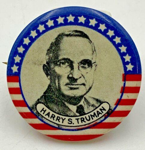 "Vintage Harry S Truman Pinback 1-1/4"" Red White Blue Pin Button 18-1320"