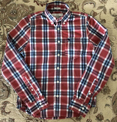 Abercrombie & fitch Kids Youth Boys Size XL Plaid Long Sleeve Shirt Blue Red EUC