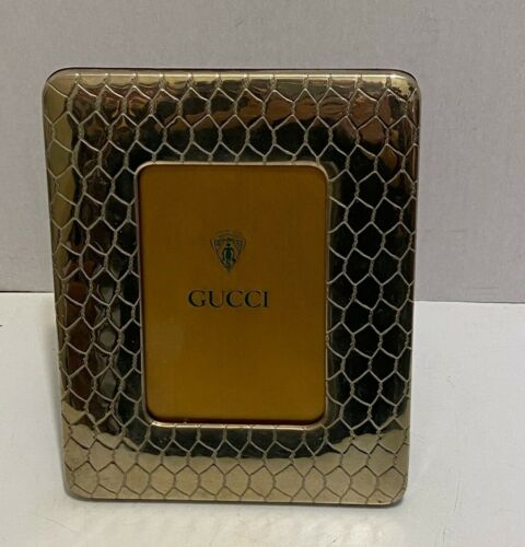 VINTAGE GUCCI CROCODILE STAMPED SILVER PLATED PICTURE FRAME -  BEAUTIFUL!