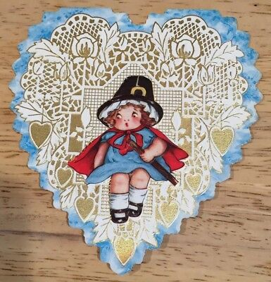 Antique Die Cut Heart Valentine Card Gold Detail Pilgrim Hat Girl Red Cape 1912