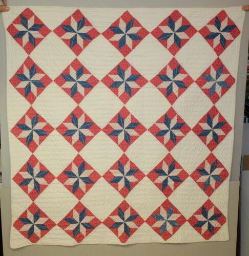 Antique Baby Crib Quilt – LeMoyne Stars Pattern – Red White & Blue