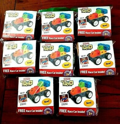 Fisher Price TRIO Race Car Building Blocks Bricks Toy Lot of 8  - NEW - NO BAGS