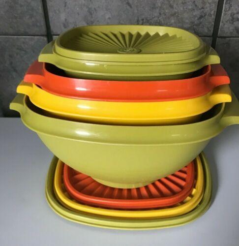Tupperware Vintage Servalier Bowl Set of 4 w/ lids Harvest Colors