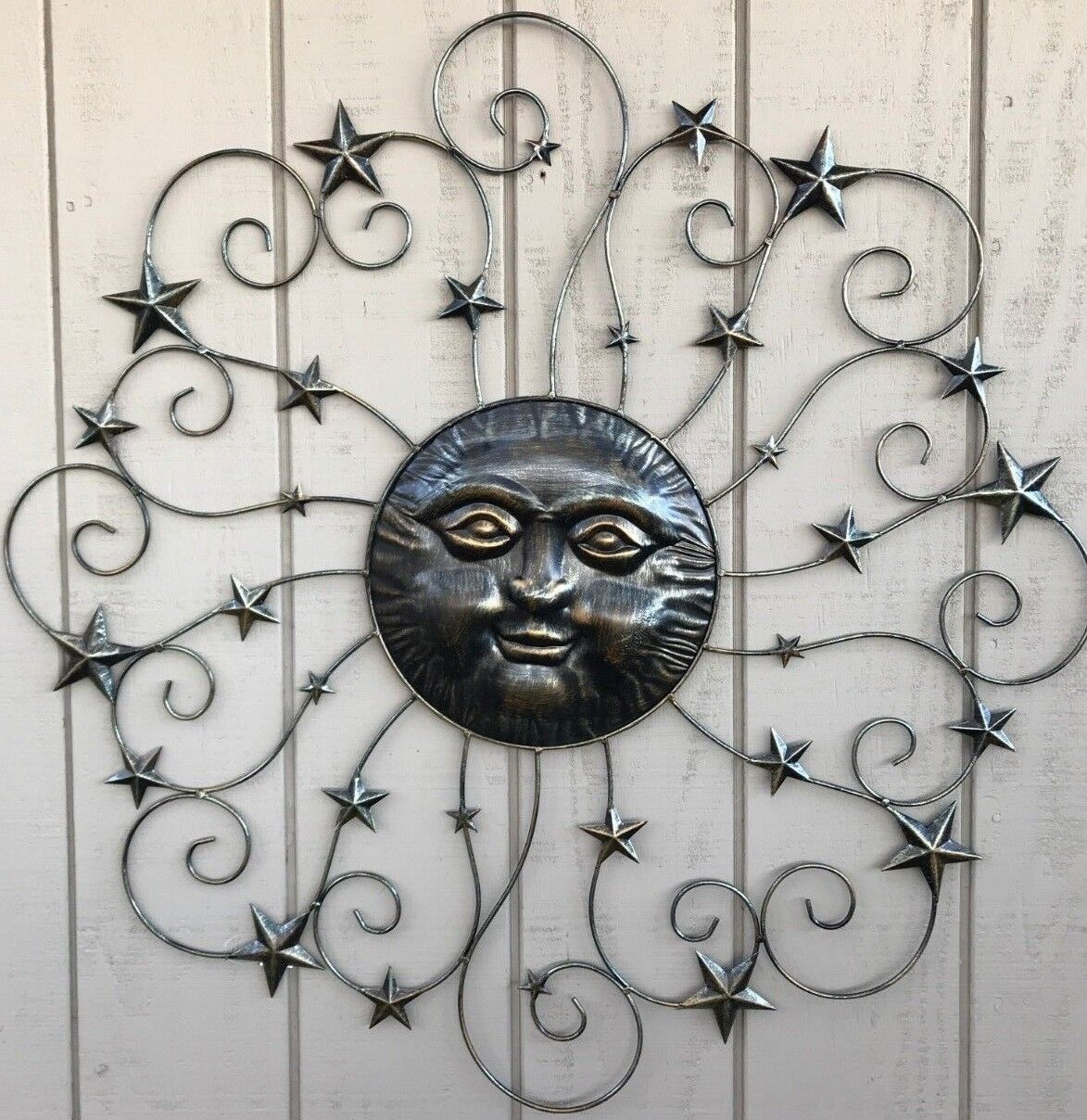 Details About 38 Sun And Stars Nautical Metal Wall Art Indoor Outdoor Contemporary Home Decor