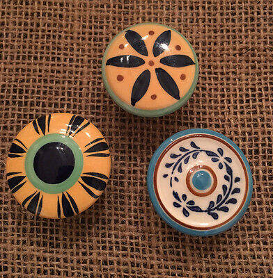 Vintage Anthropologie Unique Ceramic Cabinet Knobs Pulls Multicolored Set of 3, used for sale  Alpharetta