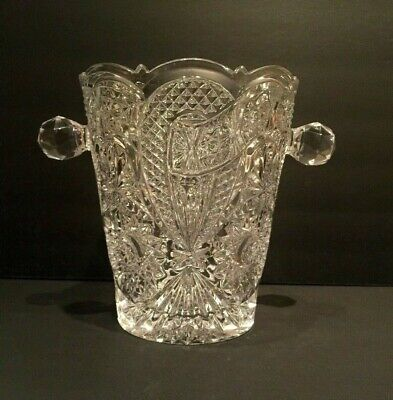 Large Very Heavy Lead Cut Crystal Ice Bucket Round Multi-faceted Handles EUC  ()