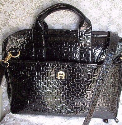 ETIENNE AIGNER LAPTOP CASE, Attache, Briefcase, Black Patent Shoulder Bag, EUC