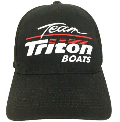 Vtg Team Triton Boats Hat Racing Cap Logo Snap Back Baseball Trucker Fishing Blk