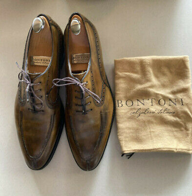 Mens Bontoni Camel Lace-up Shoes Size 11