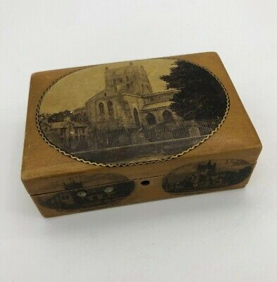 Vintage Small Wooden Storage Box with The Abbey Church Rare