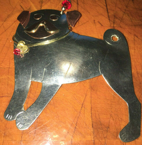 Brand New Pilgrim Imports Beaded Pug Distressed Metal Christmas Ornament