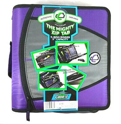 Case-it Mighty Zip Tab 3-ring Binder 3 Capacity Purple Notebook D-146 New
