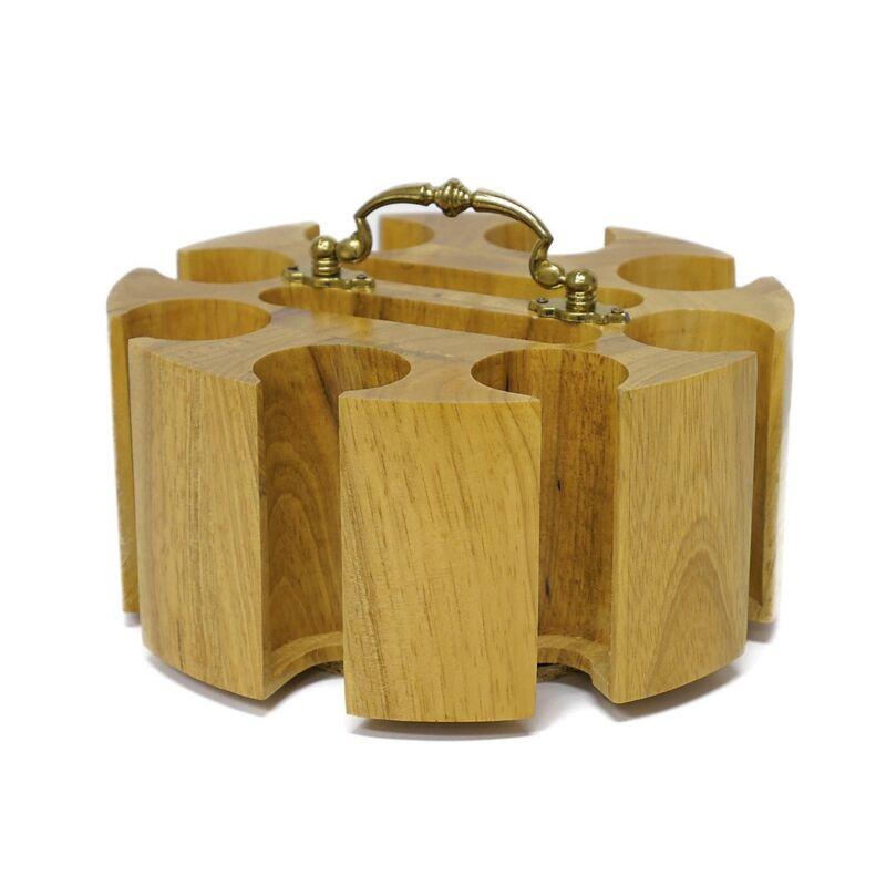 Oak 200 Poker Chip Wood Carousel