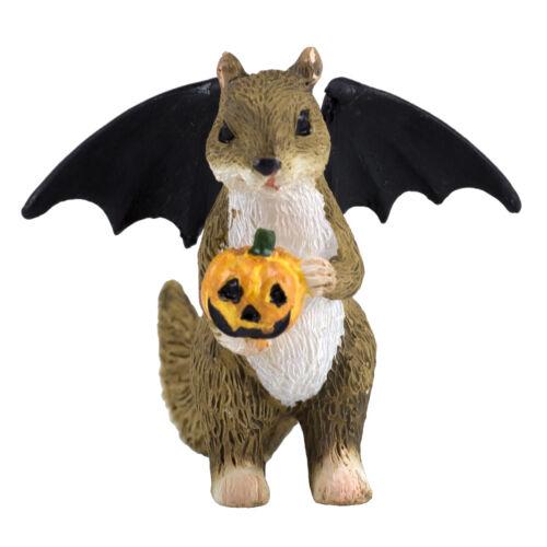"Mini Miniature Halloween Bat Squirrel With Jack-O-Lantern Figurine 1.75""H New!"