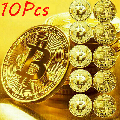 10Pcs Gold Bitcoin Commemorative 2020 New Collectors Gold Plated Bit Coin USA