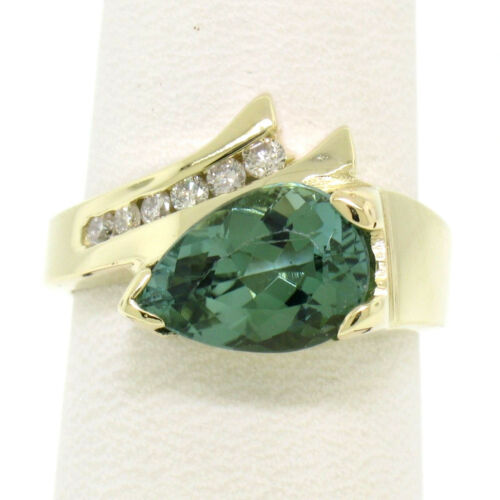 Rare 14k Yellow Gold 2.18ctw Pear Bluish Green Tourmaline & 6 Round Diamond Ring