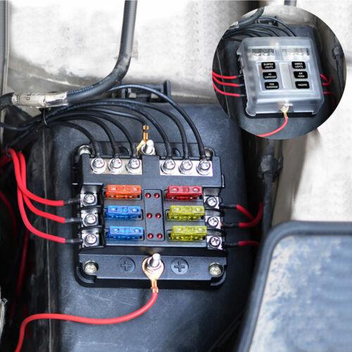 DC 32V Fuse Box Holder W// LED Indicator Light 6 Way Terminals Circuit Universal