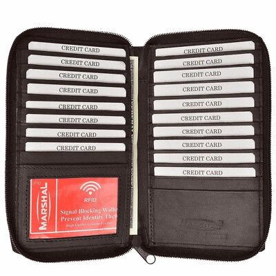 Braune Leder Scheckheft Wallet (Braun Rfid Signal Blockieren Leder Scheckheft Hülle Zip Wallet Karte Organizer)