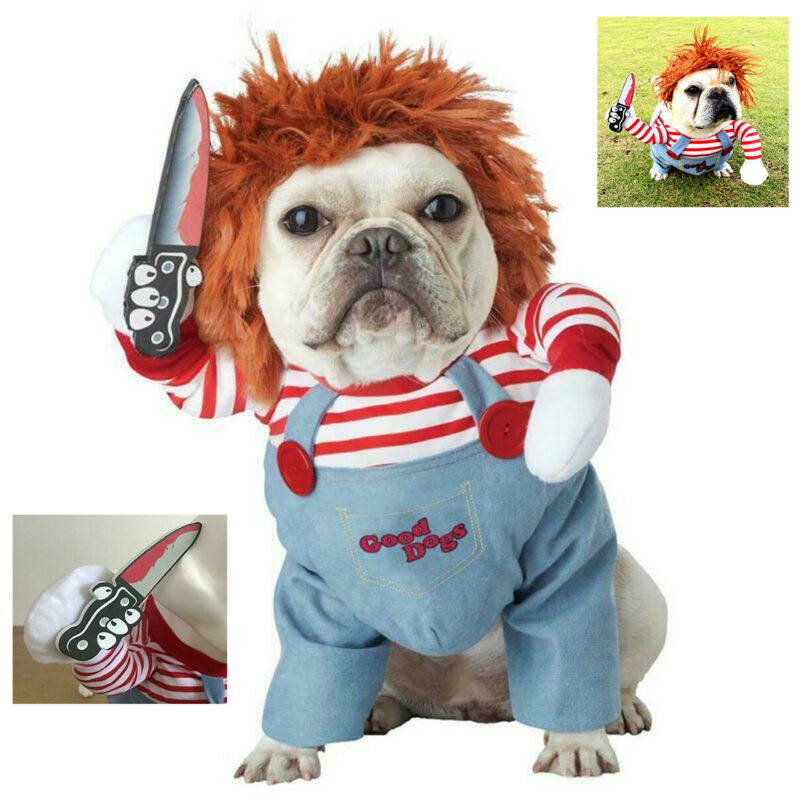 Halloween Scary Dog Costumes Funny Pet Clothes Cosplay Deadly Doll Clothing Set