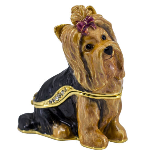 Bejeweled Enameled Pewter Yorkshire Terrier Yorkie Trinket Box With Crystals