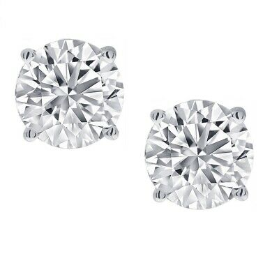 1/2ct Real (Natural) Round Diamond Solitaire Stud Earring set in 14K White -