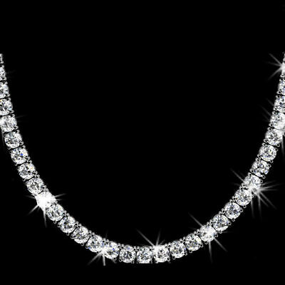 - 42.5ct Brilliant D/VVS1 Diamond 14K White Gold Over Tennis Necklace in 18