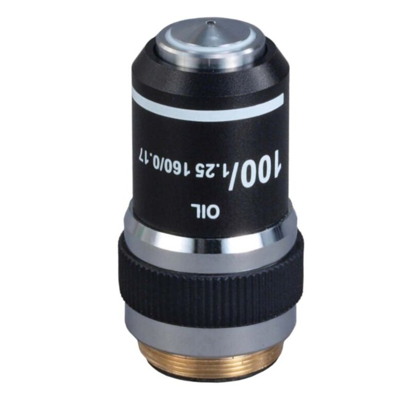 100X/1.25 DIN Achromatic Objective Lens for Compound Microscopes (Oil, Spring)
