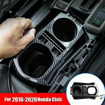 For 2016-2020 Honda Civic Carbon Fiber Interior Console Storage Box Trim W/ USB
