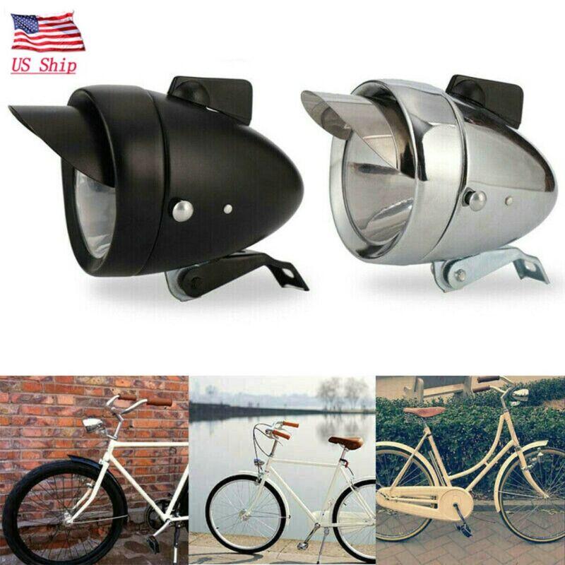 US!Classical Chrome Retro Bicycle Bike LED Light Headlight Front Retro Head Lamp