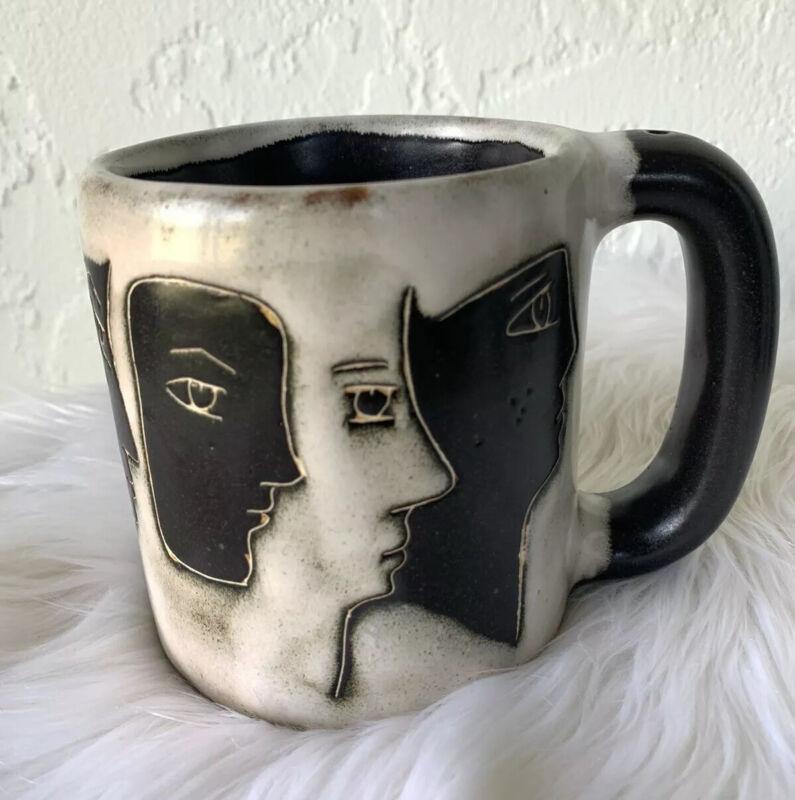 Vintage MARA MEX Artist Signed Face Coffee Cup Mug HEAVY BIG Mexico GIFT