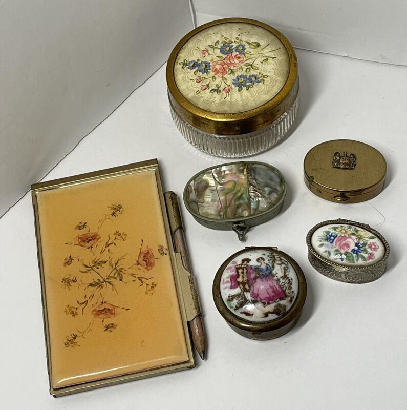 Lot of vintage trinket box empty powder jar and notepad