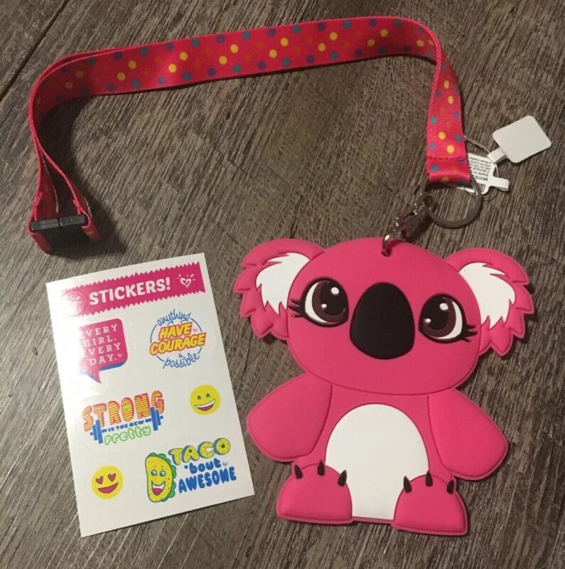 Claire's Koala Bear Polkadot Lanyard Justice Stickers Lot ID Holder