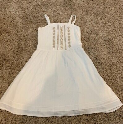 Abercrombie Kids Girls Size 13/14 White Embroidered Lined Sundress NEW