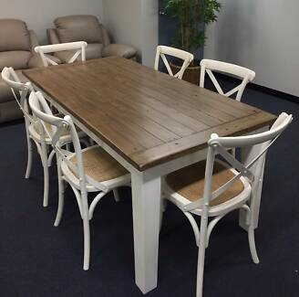 Timber Hudson Hampton Style Dining Table White Chairs Package