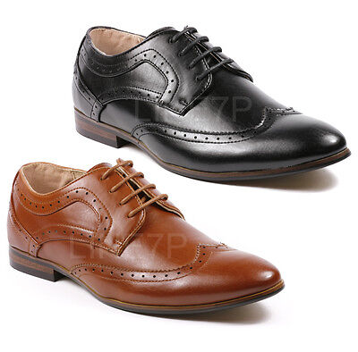 Perforated Wing Tip - Majestic Men's Perforated Wing Tip Lace Up Oxford Dress Shoes MJ36961