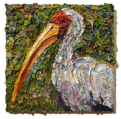 ORIGINAL█OIL█PAINTING█VINTAGE█ART█ABSTRACT█LANDSCAPE█BIRD OUTSIDER█SIGNED█BIRDS