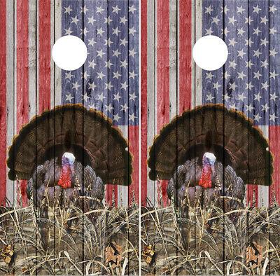 - American Flag Turkey Cornhole Wraps Board Decals Bag Toss Game Vinyl Stickers
