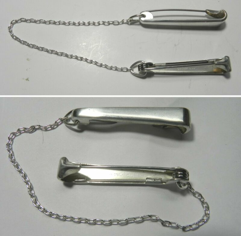 S554 Vintage Napier Sterling Silver Diaper Pins with Chain