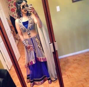 Indian outfit.  Blue lengha